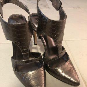 Silver crocodile print heels